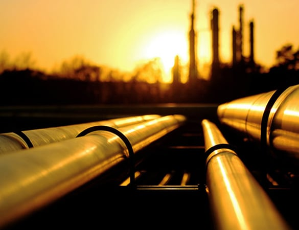 Oil pipes leading up to factory