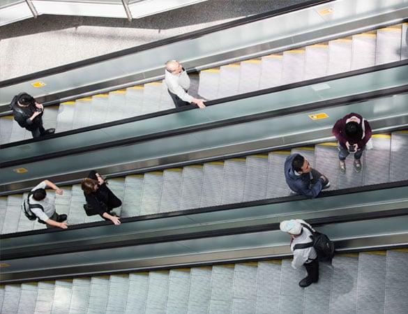 People standing on escalators
