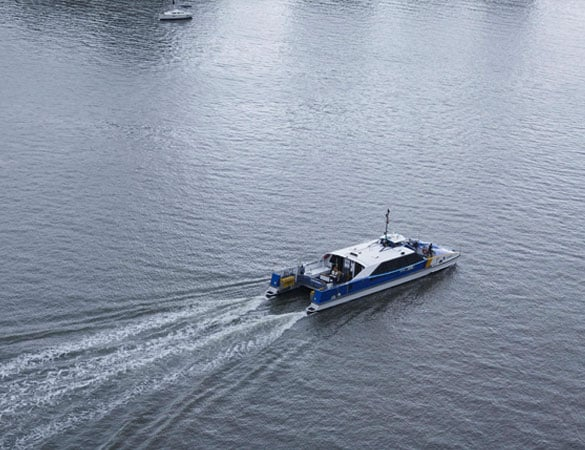 Boat travelling on water